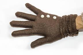 Вязаные перчатки темно-коричневый, фото 2