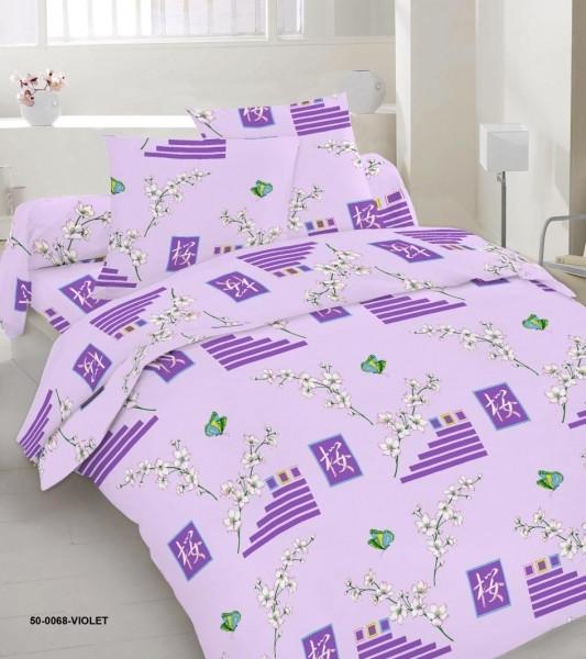 Качественное постельное белье, сиреневое, бязь, полуторное