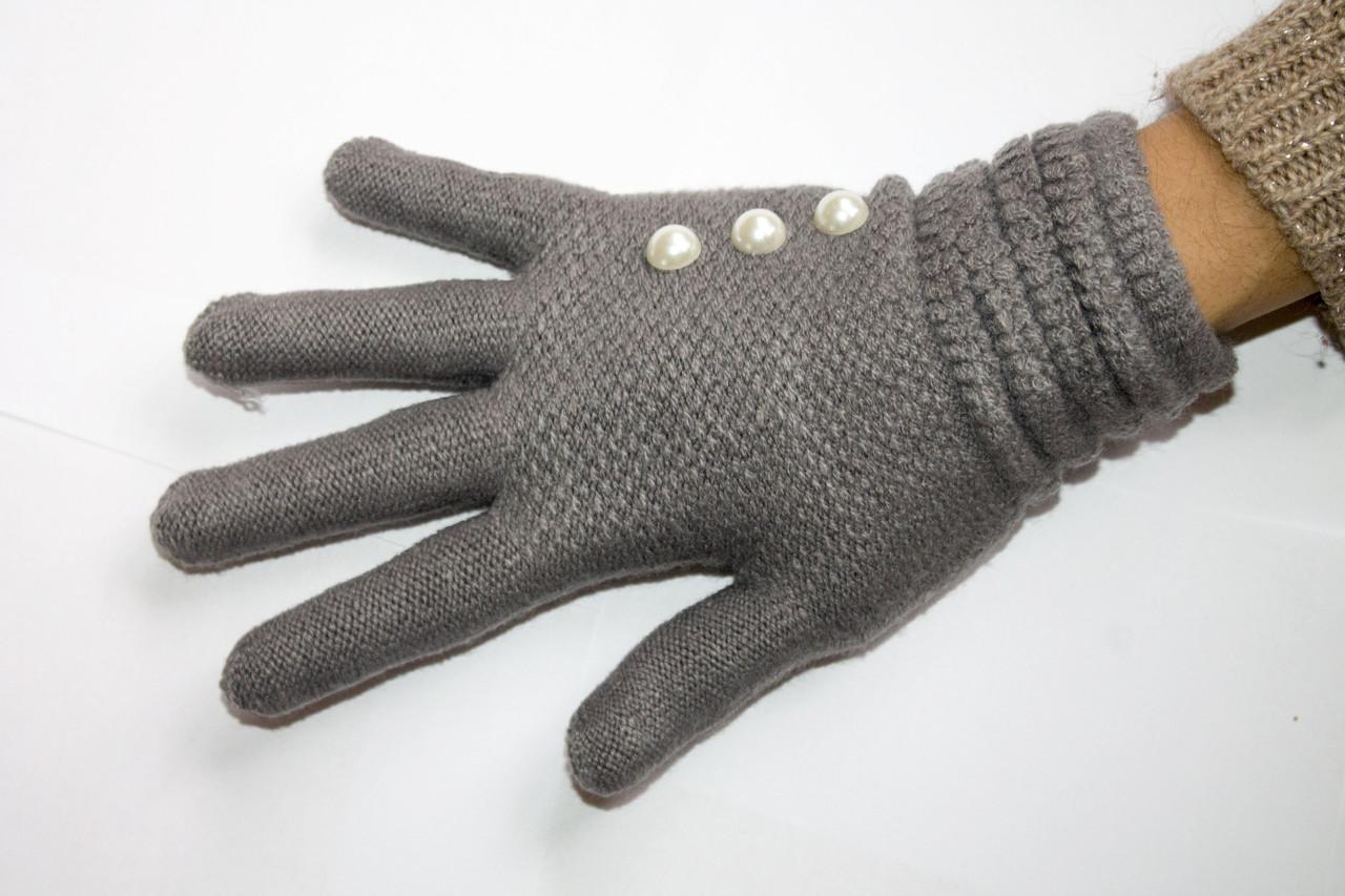 Вязаные перчатки темно-серые
