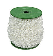 Бусины Жемчужные Белые 6 мм на нитке на бобине 1 м
