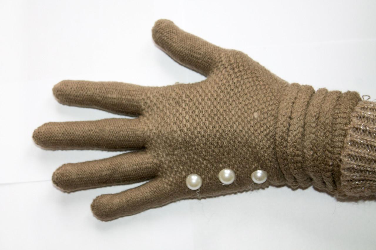 Вязаные перчатки светло-коричневый