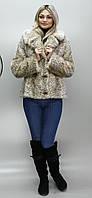 Короткая искусственная шубка бежевый леопард  Шадэ 42-48 размеры