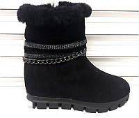 Ботинки женские зимние замшевые на молнии Uk0359