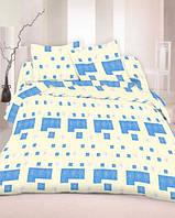 Качественное постельное белье, голубое, бязь, полуторное