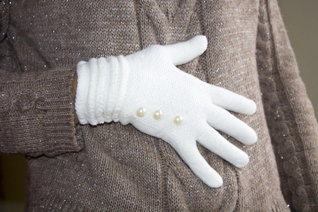 Вязаные перчатки Белый