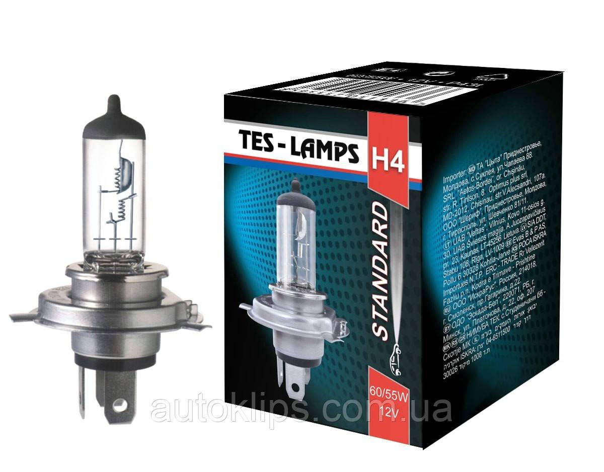 Лампа галогенная 12V H4 P43t 60/55W ТЕСЛА