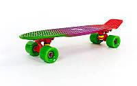 Пенни Борд Fish «Gradient» 22″ Зеленые Колеса / пенниборд скейт (penny board), скейтборд с рисунком