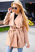 """Женское кашемировое пальто на запах """"Fashion"""" с поясом и отложным воротником (2 цвета)"""