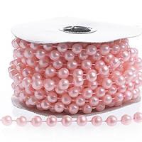 Бусины Жемчужные Розовые 6 мм на нитке на бобине 1 м