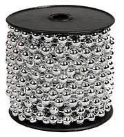 Бусины Зеркальные Серебряные 6 мм на нитке на бобине 1 м