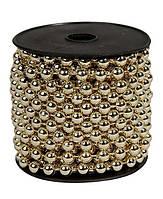 Бусины Золотой металлик 6 мм на нитке на бобине 1 м