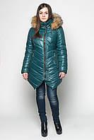 Зимняя куртка женская -зелёная, 44-52