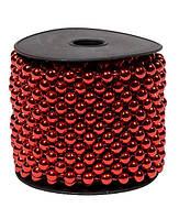 Бусины Зеркальные Красный металлик 6 мм на нитке на бобине 1 м