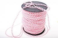 Бусины Жемчужные Нежно-Розовые 4 мм на нитке на бобине 1 м