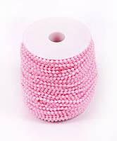 Бусины Жемчужные Розовые 4 мм на нитке на бобине 1 м