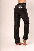 Женские  зимние штаны-дутики на синтепоне, черные батал. Арт-656б