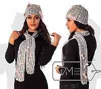 """Женский тёплый стильный вязанный комплект на флисе шапка + шарф 155 """"Вязка Бантики"""""""