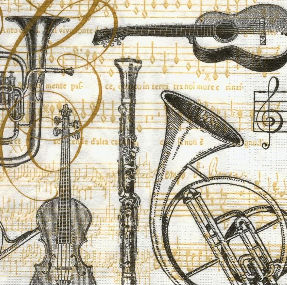 Салфетки декупажные Ноты и музыкальные инструменты 2232