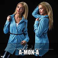 Платье-рубашка с портупеей в мелкую клеточку