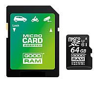Карта памяти MicroSDXC 64GB UHS-I/U3 Class 10 GoodRam + SD-adapter R95/W90MB/s (M3AA-0640R11-DD)
