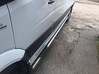 Боковой порог подножка (трубы сталь, 2 шт) Mercedes Sprinter 906 d60 Long Extra Long