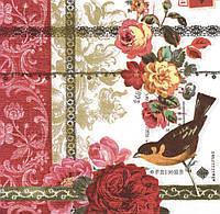 Декупажная салфетка Цветы и птица 2245