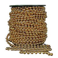 Бусины Золотой металлик 4 мм на нитке на бобине 1 м