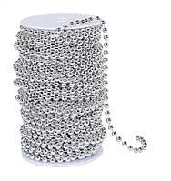 Бусины гирлянда Серебряный металлик 3 мм на нитке на бобине 1 м