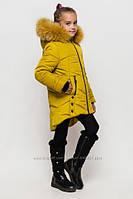 Зимнее пальто куртка на девочку Мишель размеры 128- 158 Цвет горчица, фото 1
