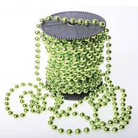 Бусины гирлянда Зеленый металлик 4 мм на нитке на бобине 1 м