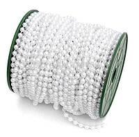 Бусины Жемчужные Белые 4 мм на нитке на бобине 1 м