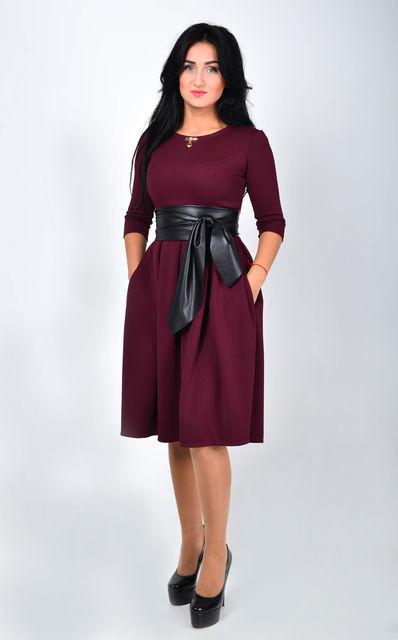 """Нарядное женское платье миди с поясом из эко-кожи Размер 44 - Интернет-магазин женской одежды """"Шанталь"""" в Хмельницком"""