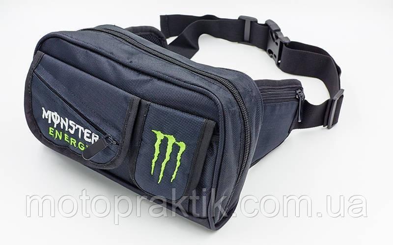 Мото сумка на пояс з логотипом MONSTER (24х13х7см, чорний)