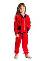 Детский велюровый спортивный костюм (кофта и штаны) для девочки 3-12 лет (Разм. 28-36) ТМ Kids Couture Красный