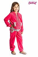Детский велюровый спортивный костюм для девочки 5-10 лет (Разм. 110-130) ТМ Kids Couture Коралловый
