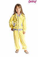 Детский велюровый спортивный костюм для девочки 3-15 лет (Разм. 28-42) ТМ Kids Couture Желтый