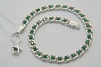 Браслетик серебряный с зелеными камнями