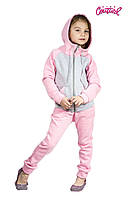 Детский спортивный костюм для девочки 3-10 лет (р. 28-36, олимпийка и штаны) ТМ Kids Couture Серо-розовый