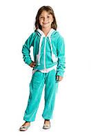 Симпатичный велюровый спортивный костюм для девочки 3-10 лет (Разм. 28-36) ТМ Kids Couture Ментоловый