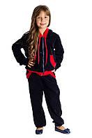 Спортивный костюм Велюр для девочки 3-10 лет (Разм. 28-36) ТМ Kids Couture Темно-синий