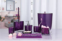 Стакан для зубных щеток и пасты Рома цвет фиолетовый
