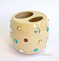 Стакан  (подставка) для зубных щеток бежевый серия Миси
