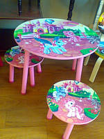 Детский столик со стульчиками «Маленькие пони» J 002-053