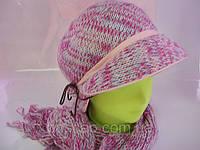 Шапка с шарфом Меланж комплект р-р 56-57, розовый цвет, фото 1