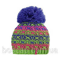 Молодежная шапка с бубоном Zut TM Loman, тонкая, полушерстяная, цвет синий меланж, фото 1