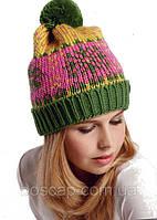 Bente, TM Loman молодежная женская шапка с отворотом и  бубоном, полушерстяная, цвет зеленый, фото 1