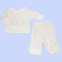 Крестильный костюмчик: кофточка и штанишки; велюр с тиснением и вышивкой, ТМ Бемби, р. 62