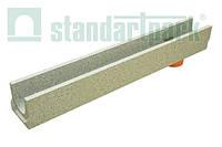 Лоток водоотводный бетонный BetoMax Basic DN100 H130 с вертикальным водоотводом (4002), фото 1