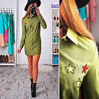 Платье-туника с нашивками в стиле милитари SMs783