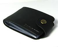 Кожаная визитница черная обложка для визиток, проездных документов, дисконтых карт натуральная кожа